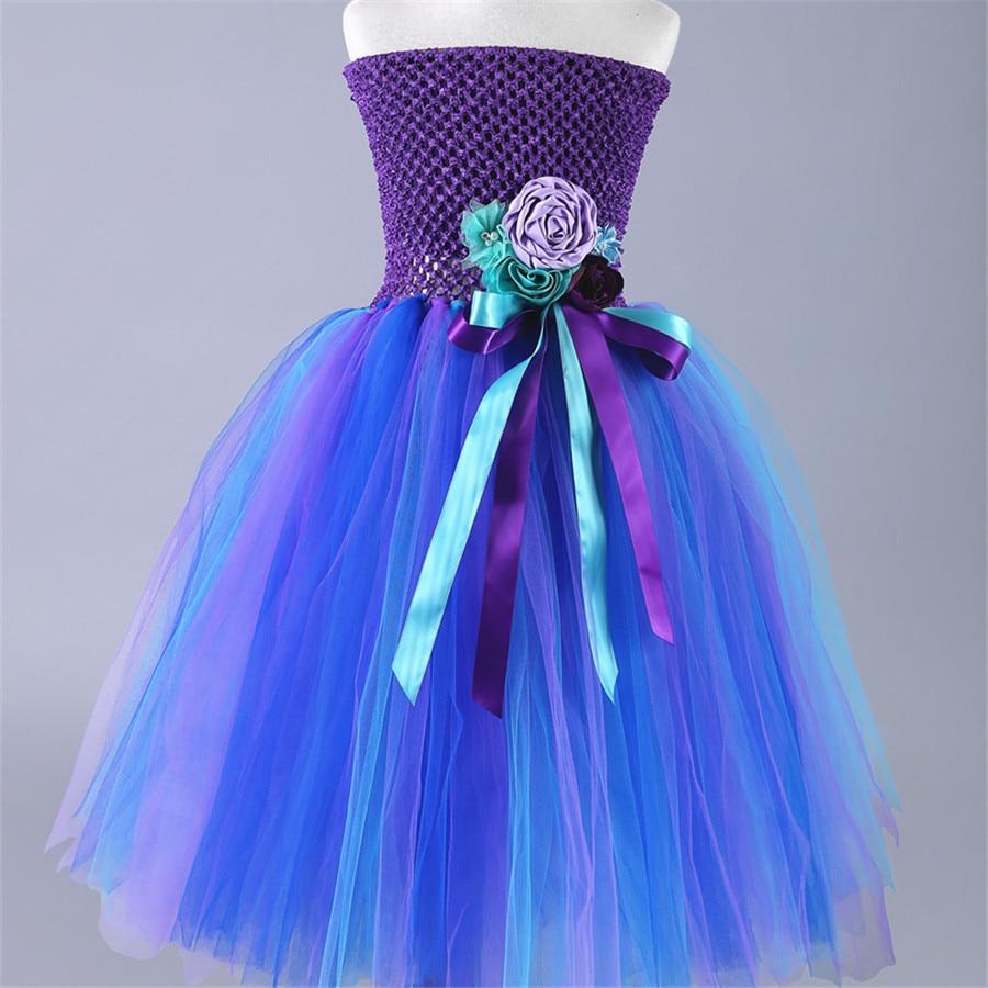 2017 Elegant Children Peacock Tutu Dress Flower Girl Ball Gown Evening Party Tutus Kids Toddler Fluffy Tulle Dresses