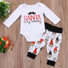 купить 2pcs 2017 Christmas Cute Baby Boy Girl Clothes Newborn Toddlers Cotton Long Sleeve Romper+Santa Claus Pants Infant Clothing set дешево