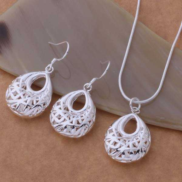 Silver plated  Jewelry Sets Earring 398 + Necklace 693 /awoajnva dvmammta AS324