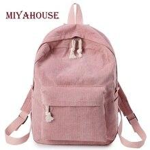 Miyahouse Mochila De tela suave de estilo Preppy para mujer, mochila escolar de diseño de pana para chicas adolescentes, mochila con rayas para mujer