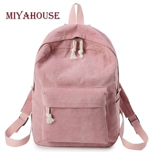 Image 1 - Miyahouse Preppy Style Soft Fabric Backpack Female Corduroy Design School Backpack For Teenage Girls Striped Backpack Women
