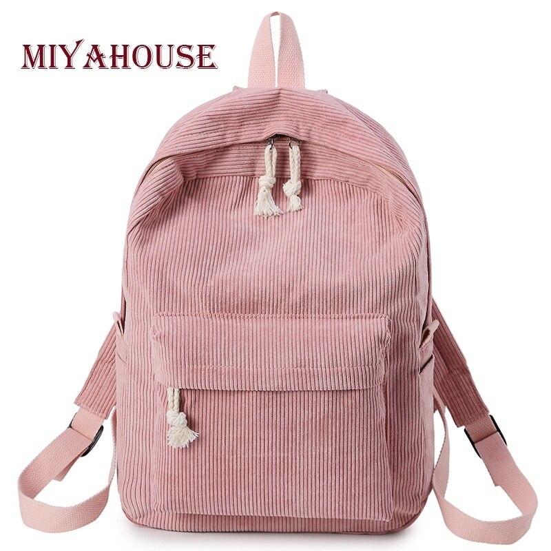 Miyahouse estilo preppy tecido macio mochila feminino corduroy design mochila escolar para adolescentes meninas listrado mochila