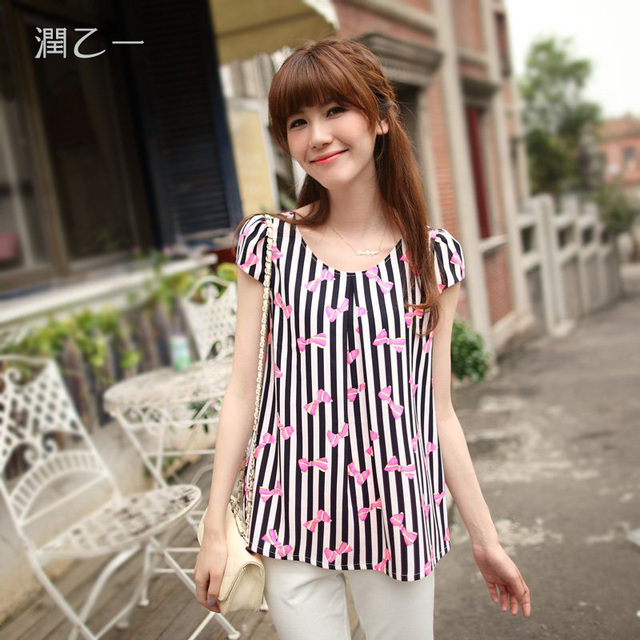 2013 summer women's loose o-neck short-sleeve T-shirt black and white vertical stripe bow top 13376