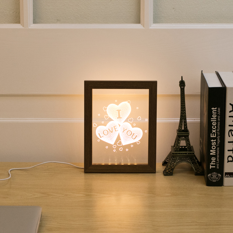 Three Heart Patterns Wood Frame Small 3D Night Light Creative Acrylic Photo Frame With Lamp Decoration USB Desk Lamp table lamps