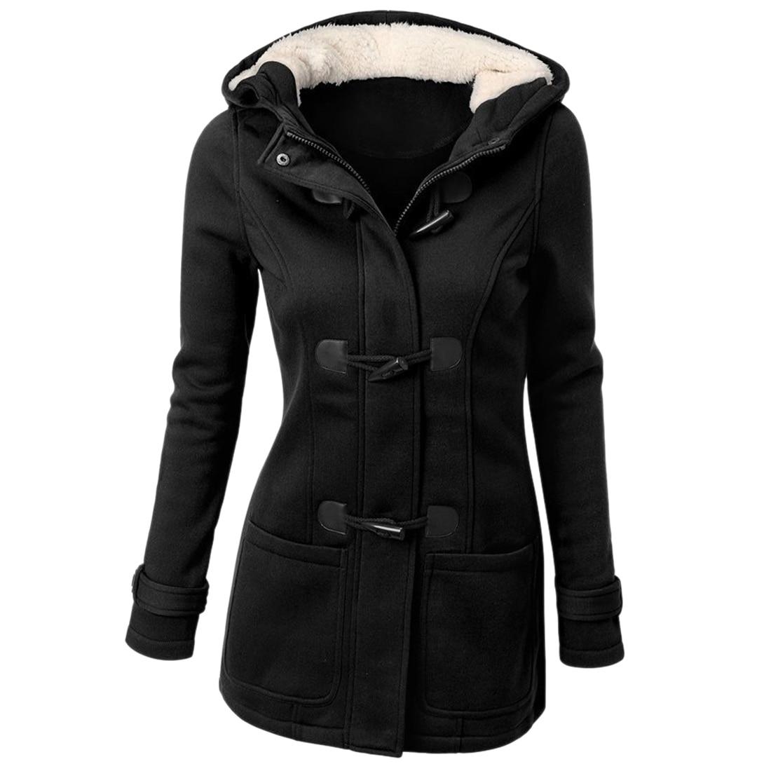 Winter Coat Women 2015 New Fashion Women Wool Blends Slim Hooded Collar Zipper Horn Button Long Coats Outerwear special button