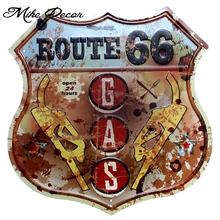 Mike86  ROUTE 66 GAS Vintage Public painting Retro Gift Craft Irregular sign Hotel decor YE-157 Mix order