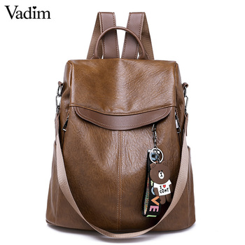 Vadim Anti Theft Backpack Women Bags Multifunction Female Backpack Girls Schoolbag 2019 Travel Backpack Leather Women Sac A Dos fashion genuine leather backpack women 2019 sac a dos schoolbag for teenage girls waterproof bag travel purse female brand