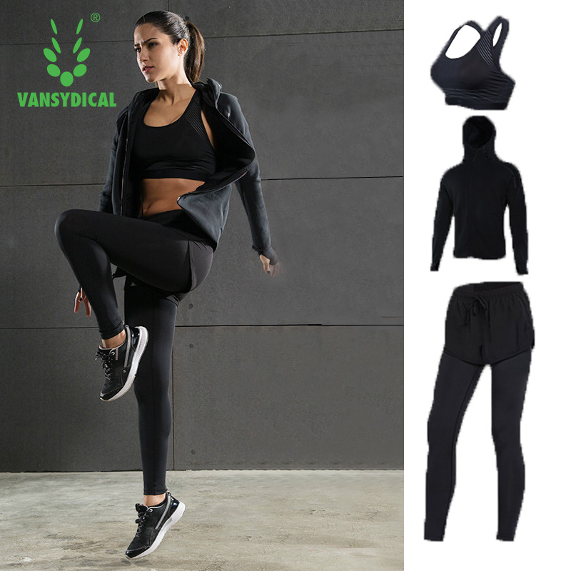 Vansydical 2017 Sport Yoga suits autumn winter sportswear fast dry gym clothes fitness jogging femme running sets for women 3pcs new arrival yel quick dry workout sport suit women 3pcs yoga sets jacket pant bra jogging suits fitness gym tracksuit clothing