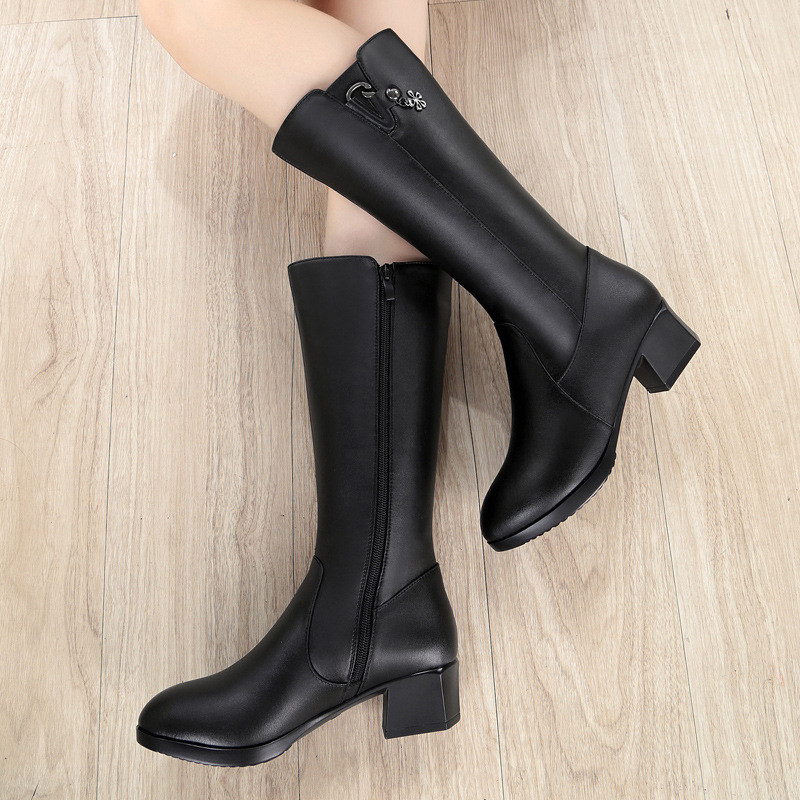 Zipper Noir Haut 6082 Chaussures 35 Med Carré Taille Cuir D'hiver Talon BottesPlus 42 43 Grande Peluche Chaud Courte Drfargo Véritable En Femmes xBeWdorC