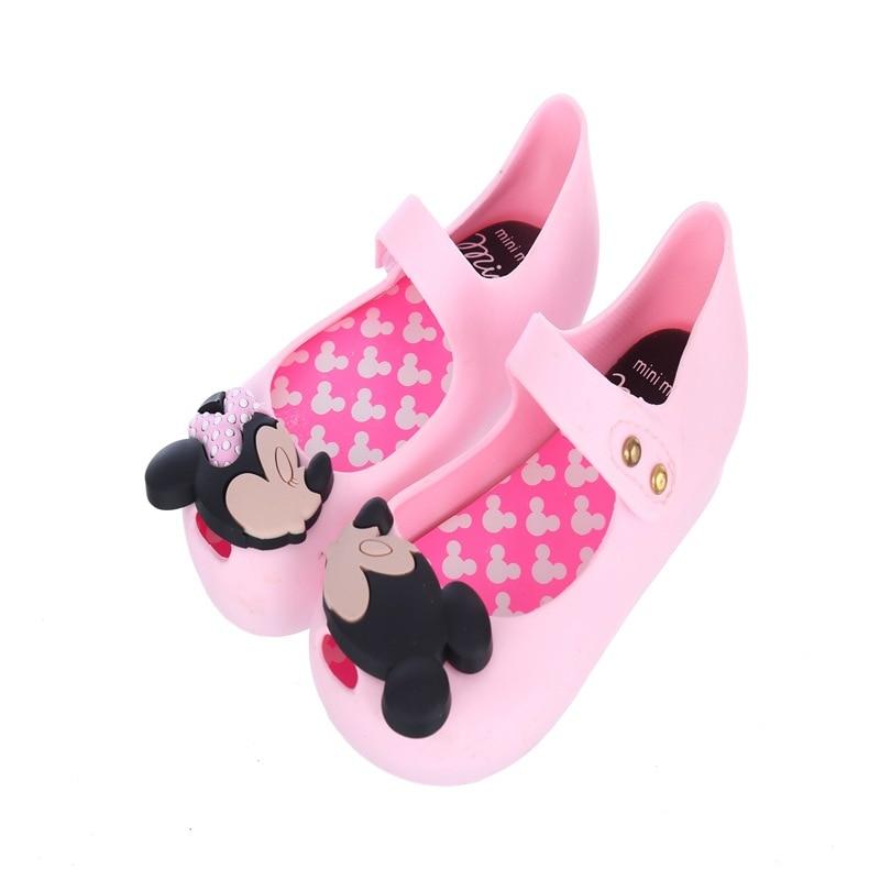 Mini Melissa 2018 Jelly Sandals Cartoon Mickey Sandals Girl Fish Jelly Shoes Princess Sandals Comfortable Shoes Mini Melissa