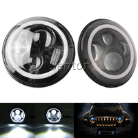 2PC Pair H4 7 Inch 40W Round LED Car Light Souce Angel Eyes Halo Ring Auto