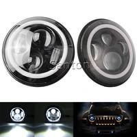2PC/Pair H4 7 Inch 40W Round LED Car Light Souce Angel Eyes Halo Ring Auto Headlight Kit For Jeep Wrangler JK CJ DC10 30V Hi/Low