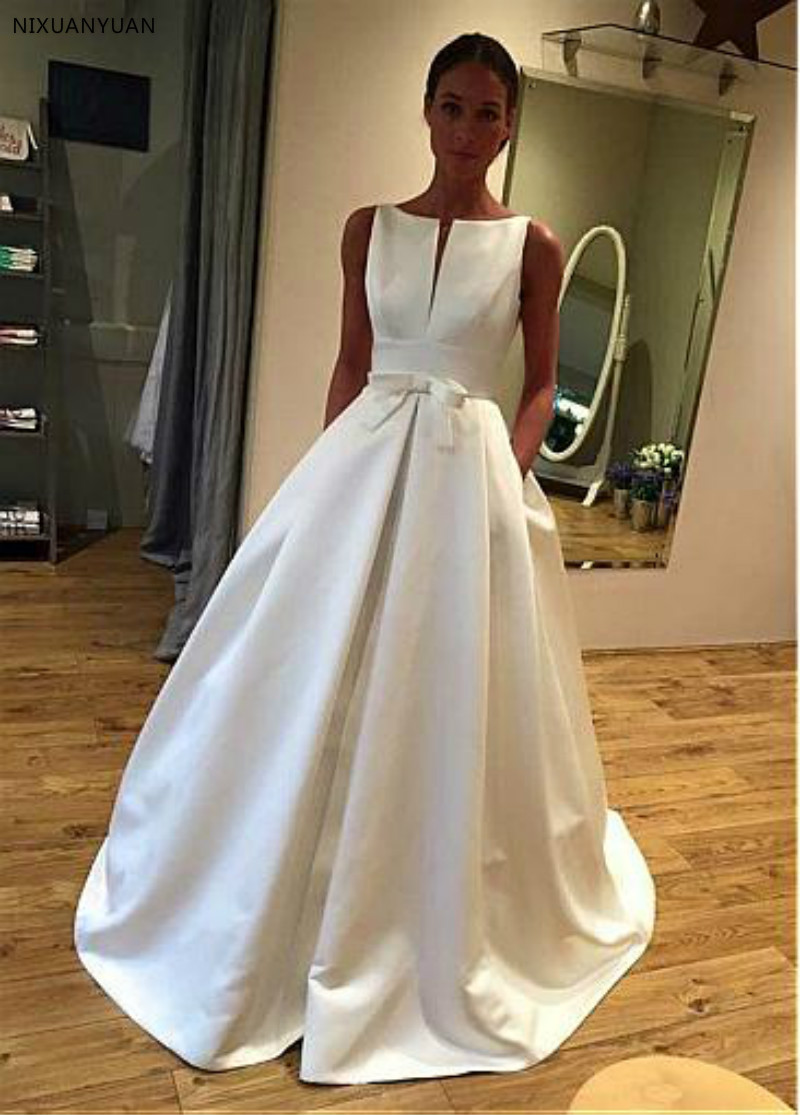 Elegant Satin Bateau Neckline A-line Wedding Dress With Bowknot & Pockets Long Simple Bridal Gowns Robe De Mariee