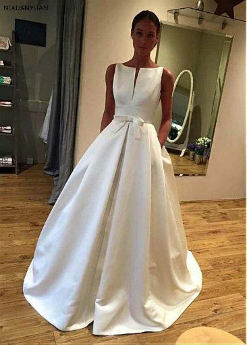 Elegant Satin Bateau Neckline A-line Wedding Dress With Bowknot & Pockets Long Simple Bridal Gowns Robe De Mariee