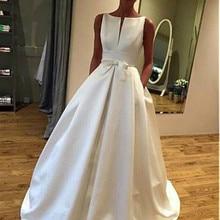 Elegante satén Bateau Neckline A-line vestido De novia con Bowknot y bolsillos vestidos De novia simples túnica De Mariee