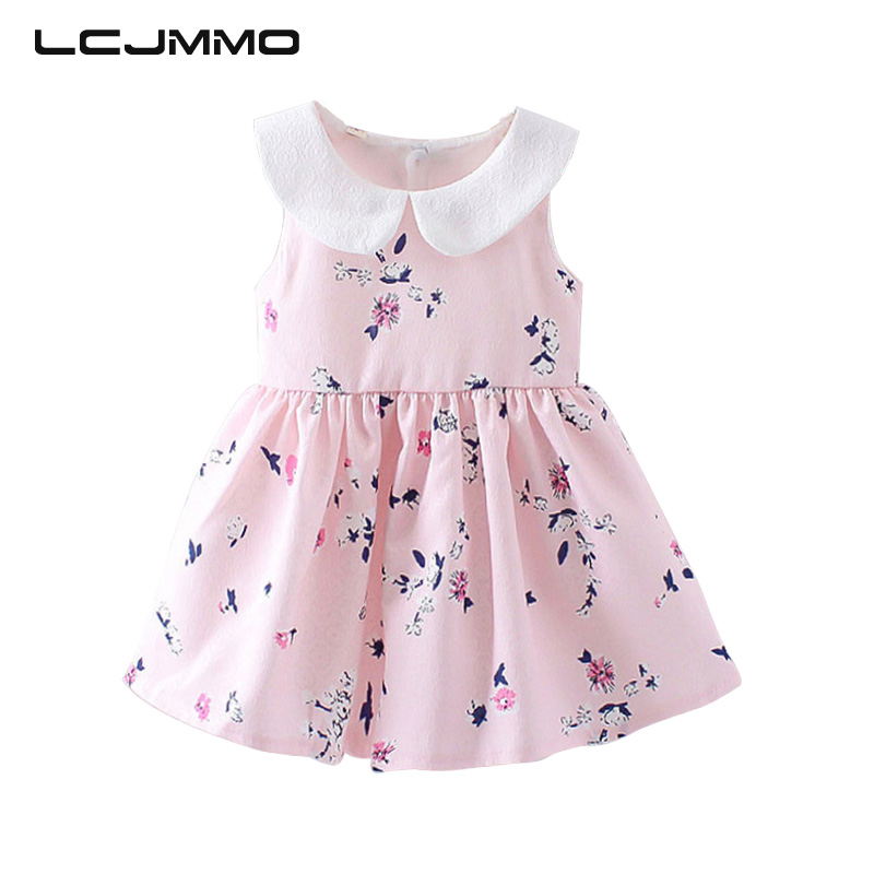 LCJMMO 2017 Holičské šaty Letní květinové princezně Party Cute Cotton Baby Dívčí oblečení Děti Lolita luk-uzel šaty pro 6-24M