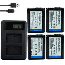 4* NP-FW50 NP FW50 Battery + LCD USB Dual Charger for Sony A6000 5100 a3000 a35 A55 a7s II alpha 55 7 A72 A7R Nex7