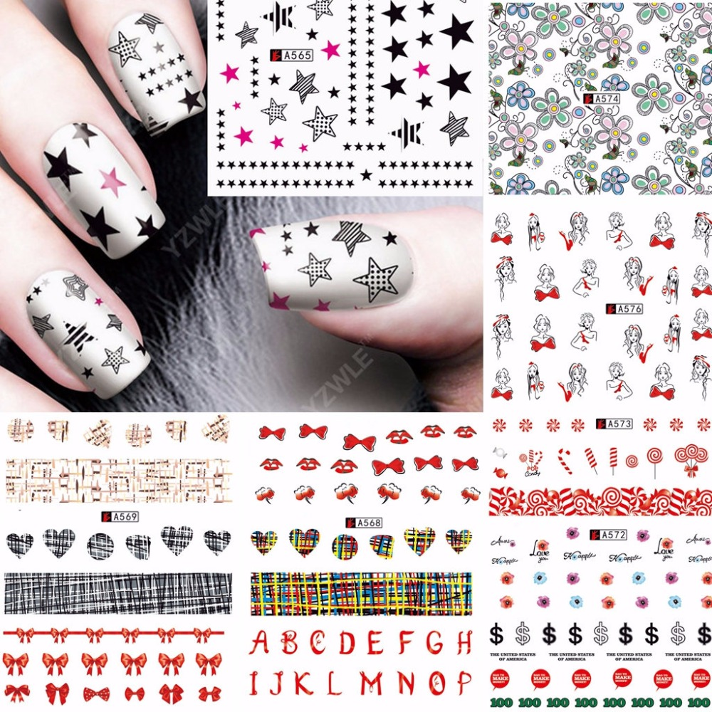 12 Sheets Beauty Flower Heart Bow Star Pattern Design Nail Art Water Transfer Decals NAIL STICKER SLIDER TATTOO Nail Accessories