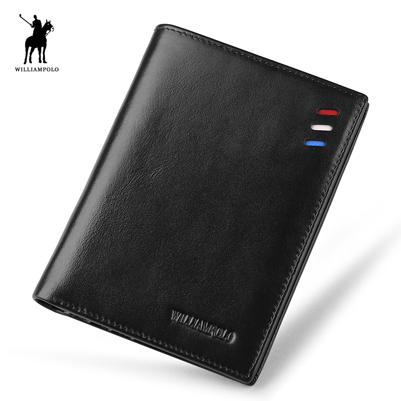 WILLIAMPOLO 2018 Minimalist Vintage Designer Genuine Leather Men Slim Thin MIni Wallet Male Small Purse Dollar Price POLO261