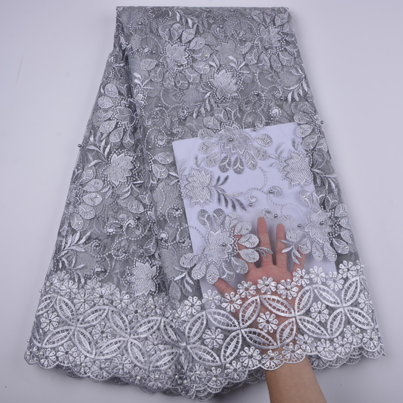 2018 High Quality African Lace Fabric Pure White French Net Embroidery Tulle Lace Fabric For Nigerian