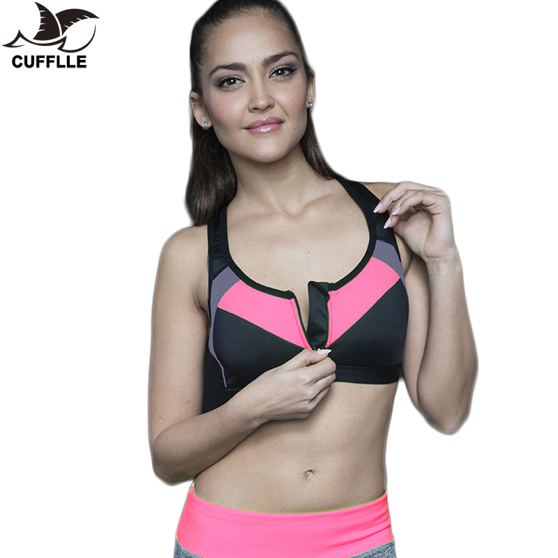 Women Zipper Push Up Sports Bra Padded Gym Fitness Athletic Running Sports Tops