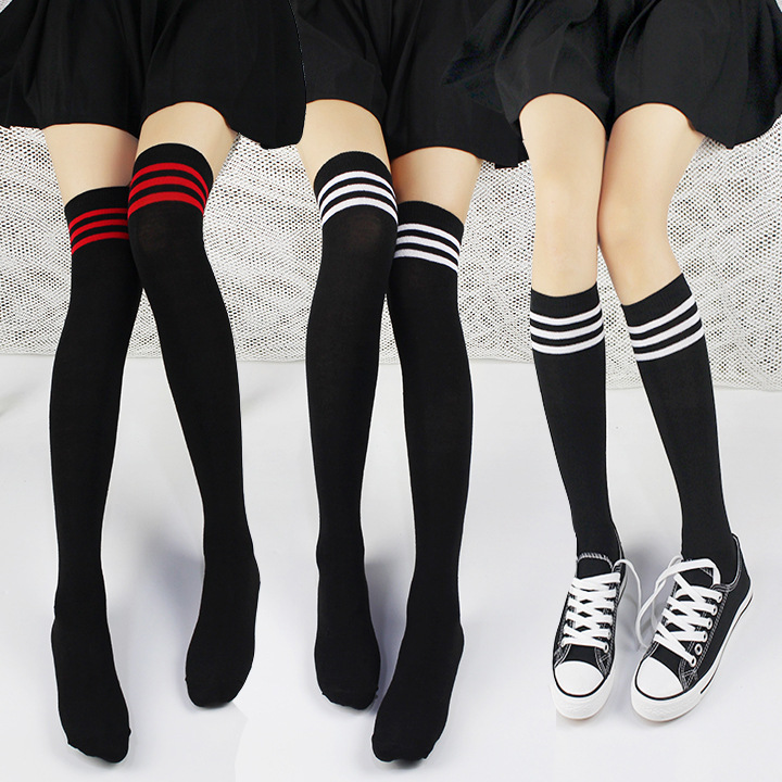 College Wind Knee Socks Knitted Three Bar Black And White Cotton Panel Women With Cotton Stockings Striped Thigh High Stockings