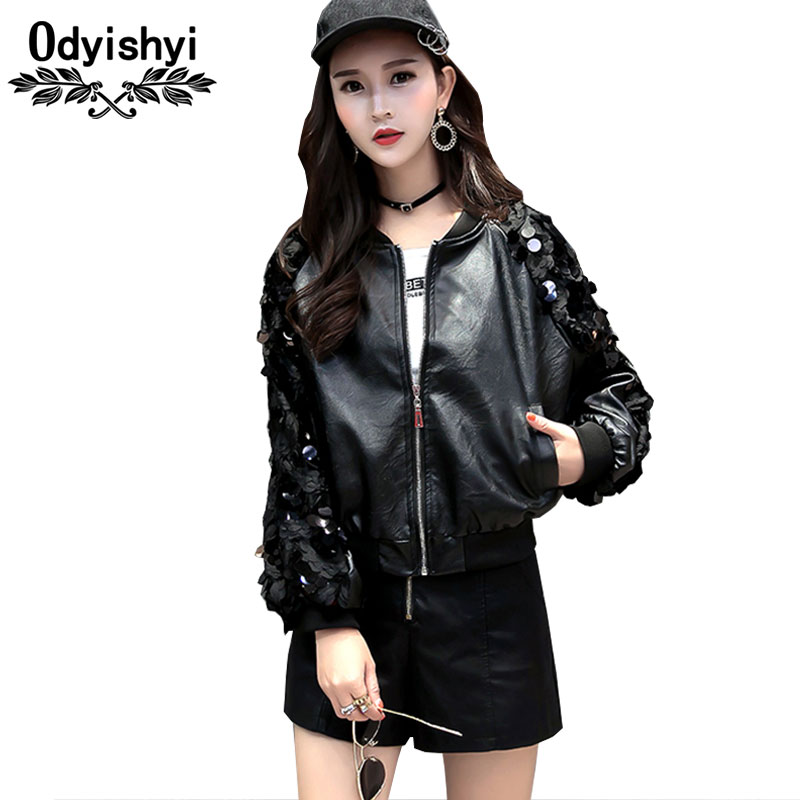Hot sell Spring Jacket Women PU leather Coat 2018 New Fashion Sequins Short Jackte Large ...