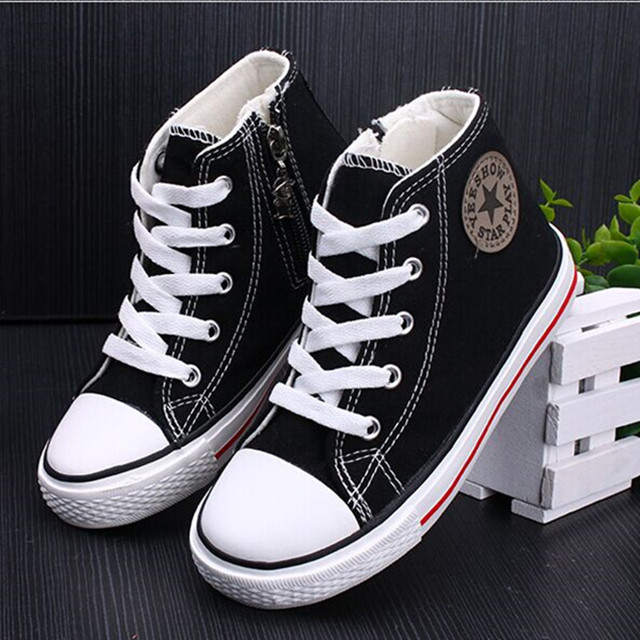 Hot Popular Kids Canvas Shoes Side Zipper Lace-up Spring Autumn Children  Sneakers Girl And Boys High Sports Shoes 658d0b391d0b