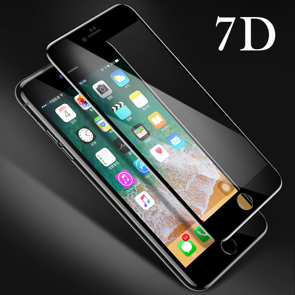 New 7D Screen Protector Curved Edge Full Cover Protective Glass For iphone X 8 7 6 Plus 9H Protective Glass white black Film  (1)
