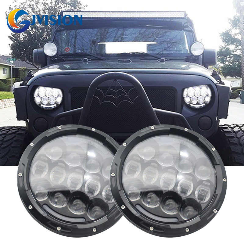 Black 7 INCH ROUND 105W HI/LO BEAM H4  LED HEADLIGHTS with amber turn signal FOR JEEP WRANGLER JK TJ LJ 1997 - 2017