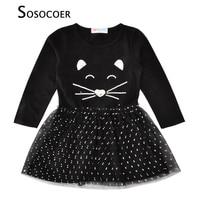 SOSOCOER Girl Princess Dress Sequined Cat Face Children Dresses Girls Clothes Autumn Cartoon Animal Polka Dot