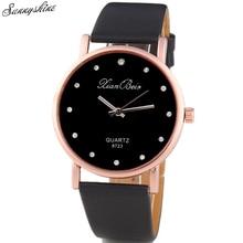 Fashion Style Women's Watches Diamond Case Leatheroid Band Clock Round Dial Quartz Wrist Watch wholesaleF3