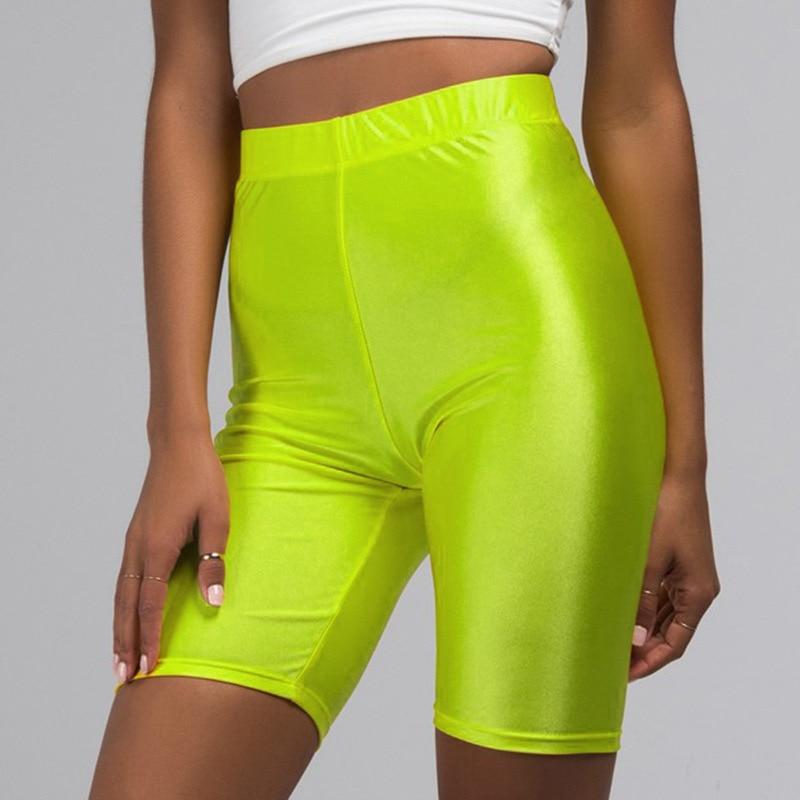 2019 New Sexy Biker   Shorts   High Waist Tight Fluorescence Multicolor Skinny   Short   Pants for Women Summer Fashion Streetwear