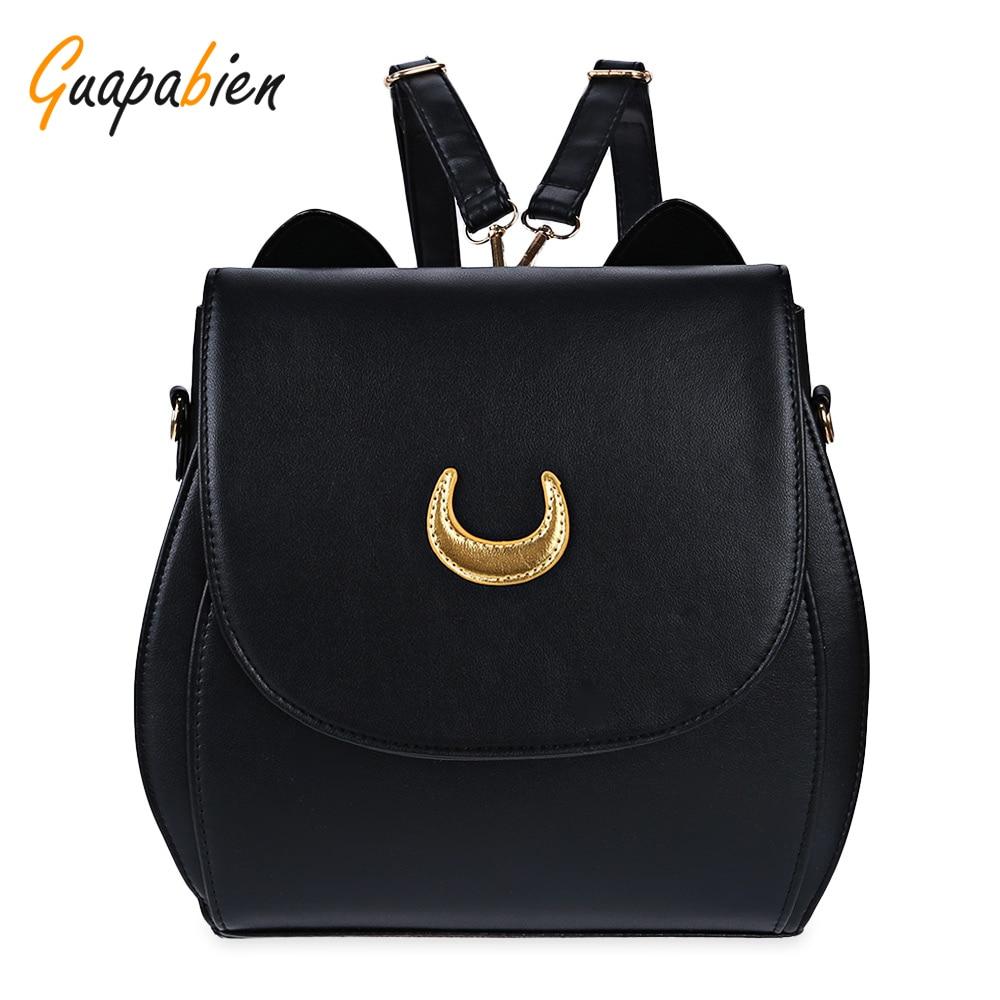 Guapabien Korean Women Backpack PU Leather Sailor Moon Backpack Black White Luna Cat Ladies Backpack Girls Travel Back <font><b>Pack</b></font>