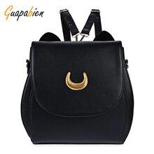 Guapabien корейских женщин рюкзак искусственная кожа сейлор мун рюкзак черный белый луна cat дамы рюкзак девушки путешествия back pack