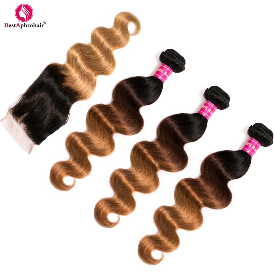 Aphro T1b/4/27 色の 3 トーン非レミーの髪バンドルと閉鎖 4 ピース/ロットブラジル実体波人毛閉鎖バンドル  グループ上の ヘアエクステンション & ウィッグ からの バンドル付きクロージャー の中 3