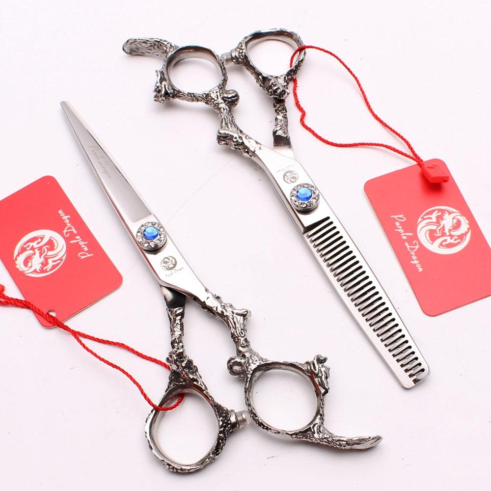 5.5In. 16cm 440C Purple Dragon Shiny Hairdressing Scissors Cutting Shears Thinning Scissors Professional Hair Scissors Kit Z9005
