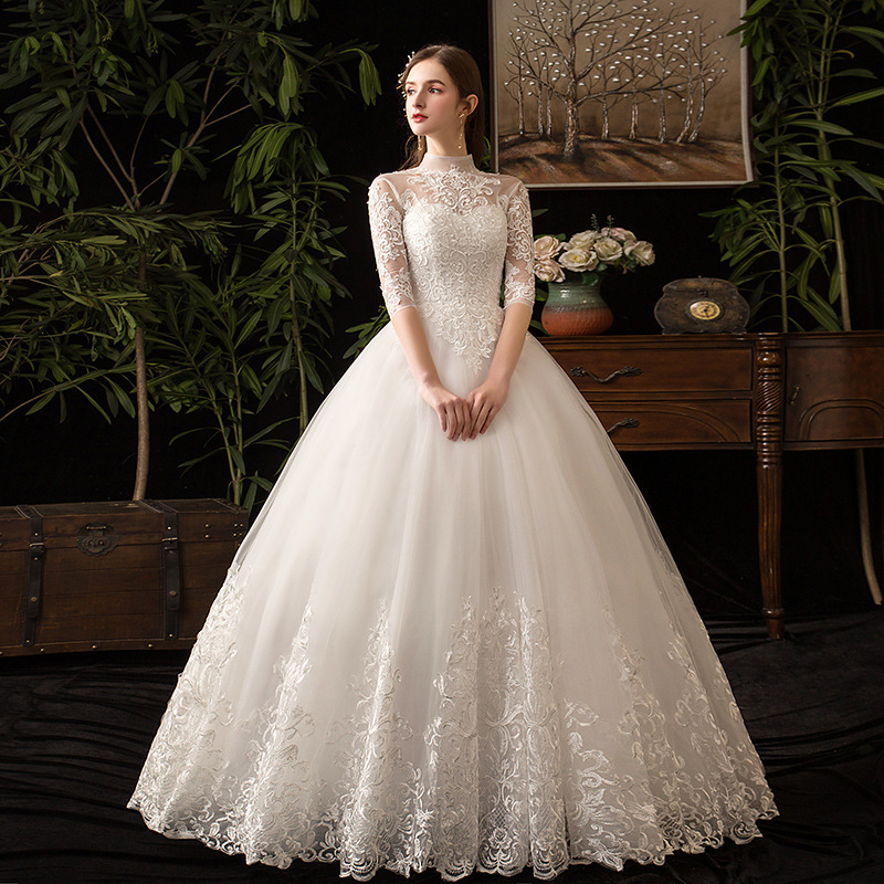 Image 2 - Chinese Style High Neck Half Sleeve 2019 New Wedding Dress  Illusion Lace Applique Simple Custom Made Bridal Gown Robe De  MarieeWedding Dresses