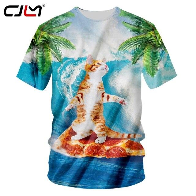 CJLM T-shirt Hombre new short pop cute cat 3D T-shirt printing cute cat hip hop 7XL Habiliment men s summer T-shirt