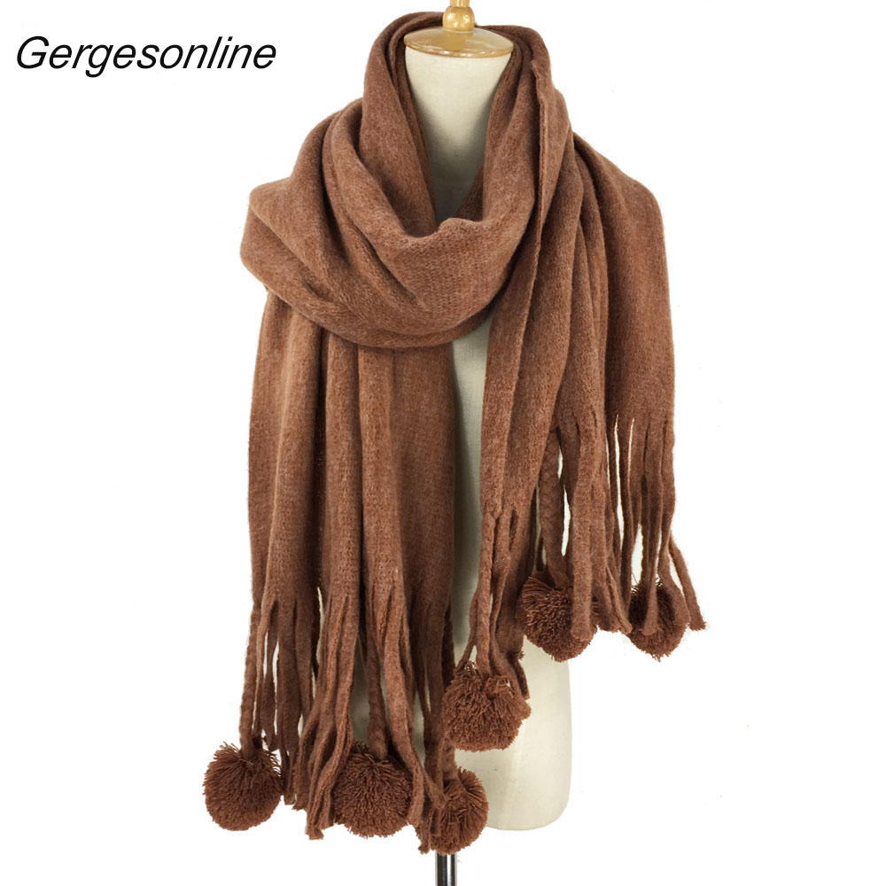 2018 new cashmere 100% feel warm women pom pom with tasssels winter acrylic plain scarf have 8 colors 70 x 180cm