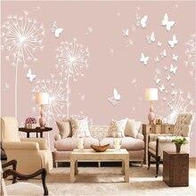 Custom high wallpaper walls  paper dandelion 3D stereo TV backdrop wall papel de parede 3d wallpapers for living room behang