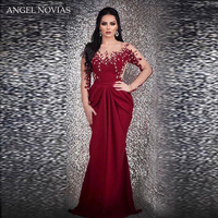 Long Sleeves Mermaid Burgundy Evening Dress 2018 Arabic Kaftan Dubai Formal Glitter Beading Party Gown Robe De Bal Longue