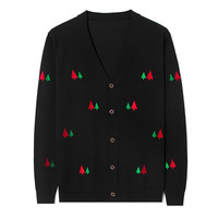 Christmas Tree Pattern Cardigan Men Christmas Sweater Embroidery Vintage Knitted Male Cardigans V Neck Plus Size