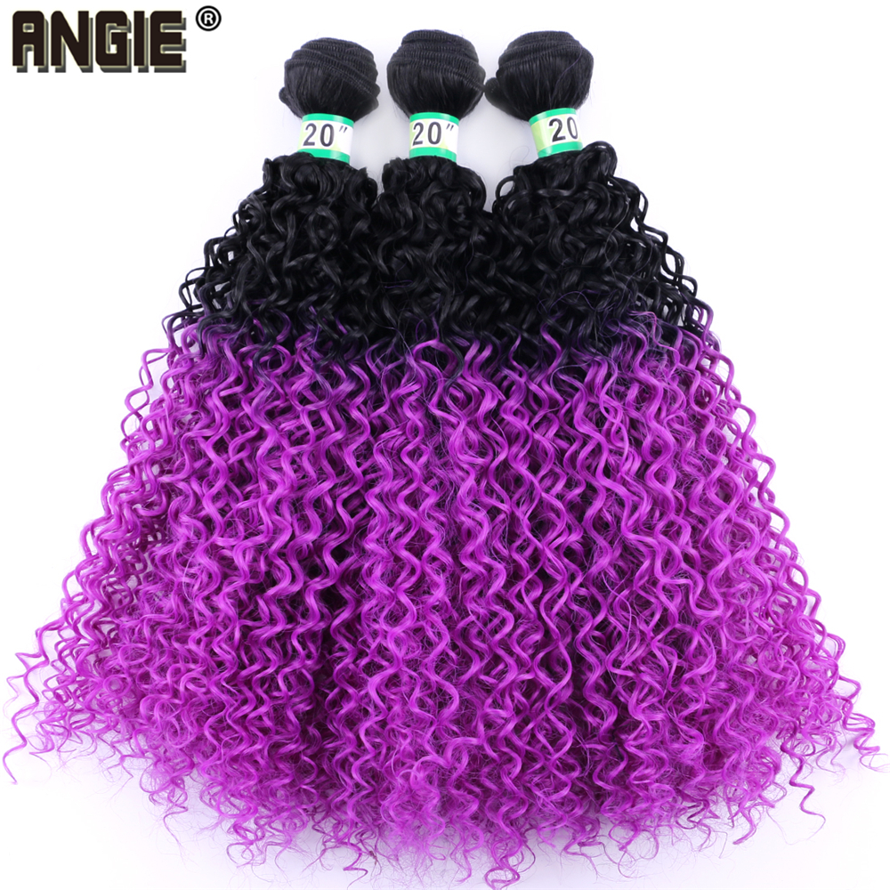 Angie Kinky Curly Hair-Extensions Synthetic-Hair-Bundles Purple Two-Tone Ombre Black