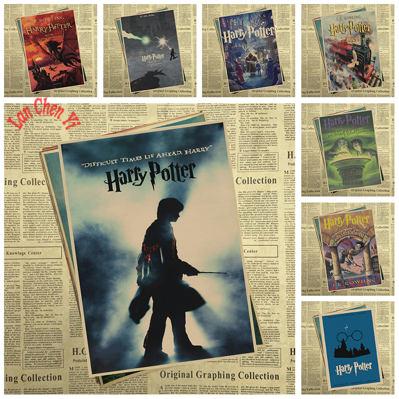 Harry Potter Series 3 Classic Movie Series Kraft Paper Poster Cafe Creative wallpaper Interior Decoration Free Shipping