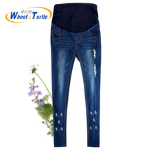 Good Quality Denim Skinny Maternity Jeans Holes Contrast Stitching Pockets Pencil Jeans for Pregnant Women Pregnancy Pants men contrast stitching destroyed denim pants