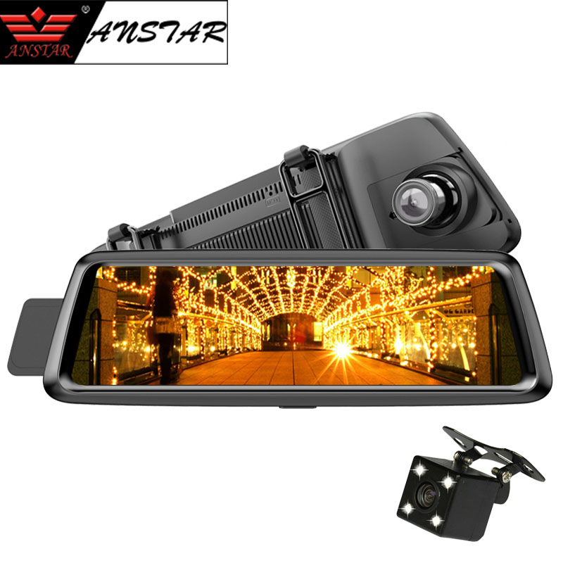 Anstar 4G Car DVR 10 inch Registrar Rear View Mirror Car Camera GPS Navigation Dual Lens Android 1080P Dash Cam Video Recorder