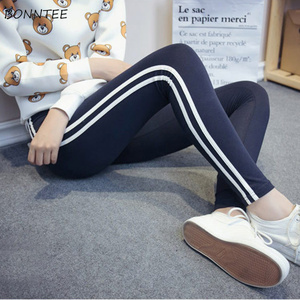 Image 4 - Pants Women 2020 Skinny High Elasticity Simple Trendy Pencil Trousers Student Striped Korean Cotton Sweatpants Womens All match