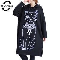 Oladivi Oversized Plus Size Women Hoodies Dress Fashion Print Casual Sweatshirt Tunic Lady Freely Long Tops