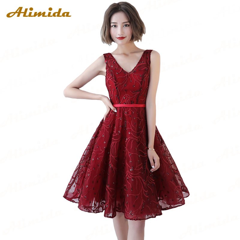 ALIMIDA Length Evening Dress 2018 Red Wine Banquet Prom Dresses Sexy Off  the Shoulder Formal Party ... 7ac1448cd344